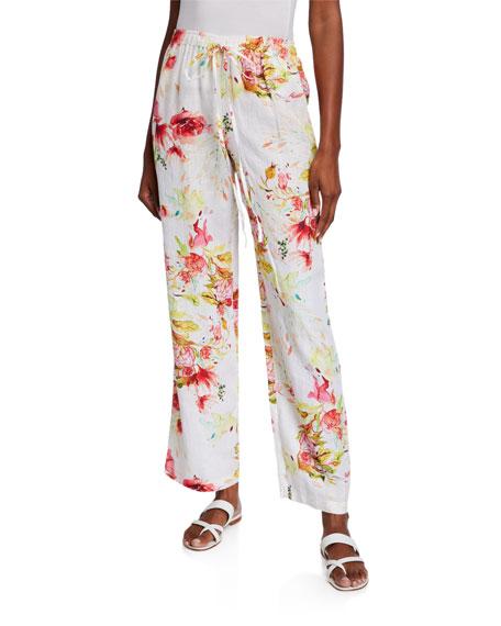 120% Lino Floral Print Drawstring Pants