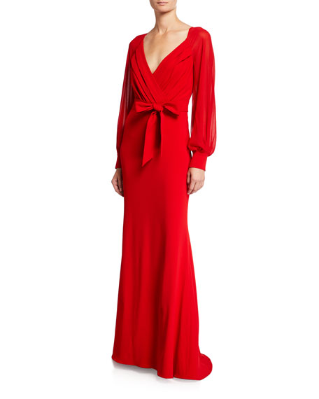 Badgley Mischka Collection Long-Sleeve Mock-Wrap Crepe Gown