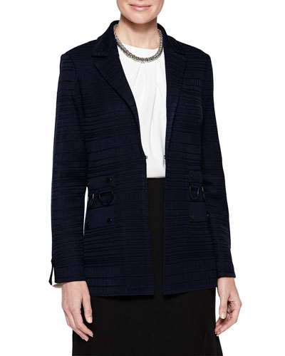 Plus Size Ring Detail Grid Textured Blazer