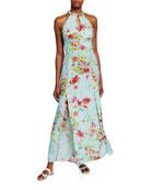 120% Lino Floral Print Keyhole-Neck Halter Maxi Dress