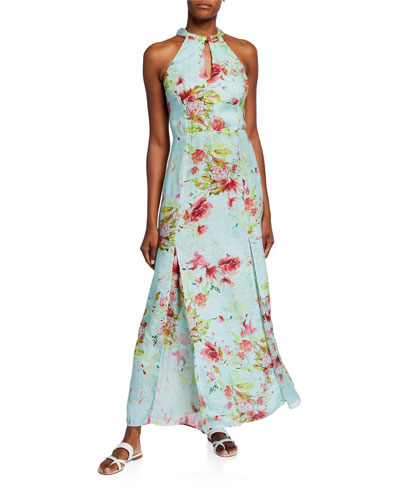 Floral Print Keyhole-Neck Halter Maxi Dress