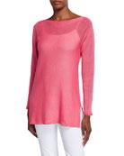 120% Lino Long-Sleeve Side-Vent Linen-Blend Sweater