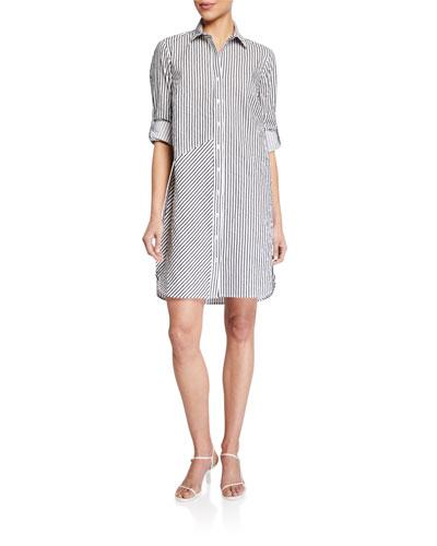 Bailey Stripe Textured Long-Sleeve Shirtdress