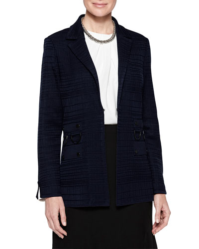 Grid Textured Ring Detail Blazer