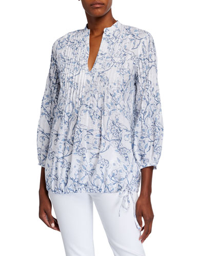 Etched Indigo Floral Print Pintucked Poet Shirt