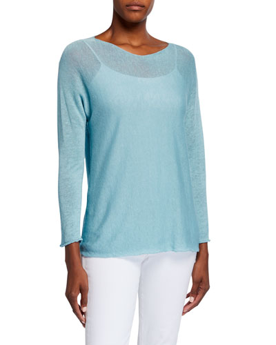 Boat-Neck Long-Sleeve Rolled-Edge Dolman Sweater