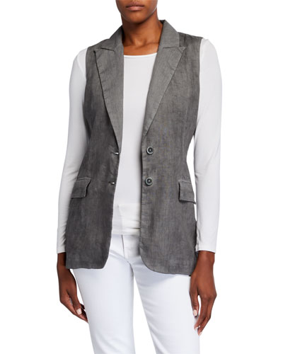 Peak Lapel Two-Button Linen Vest