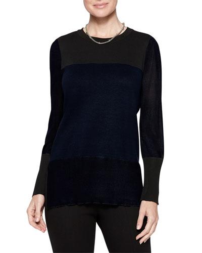 Sheer Sleeve Colorblock Tunic