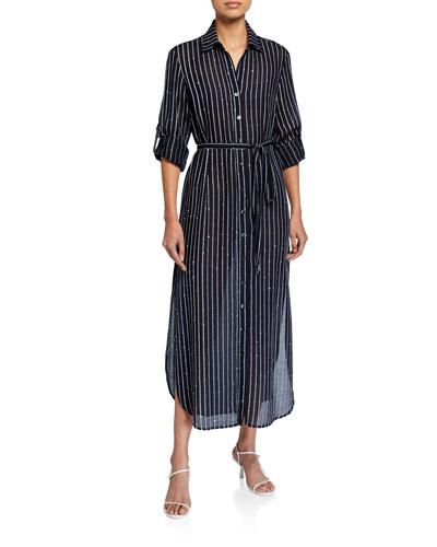 Alex Striped Button-Down Long Dress w/ Sequins