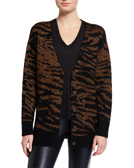 Pam & Gela Tiger Button-Front Cardigan