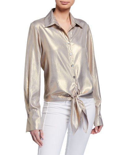 Lindy Liquid Gold Tie-Front Long-Sleeve Top