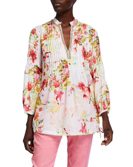 120% Lino Floral Print Pintucked Long-Sleeve Embellished Poet Shirt