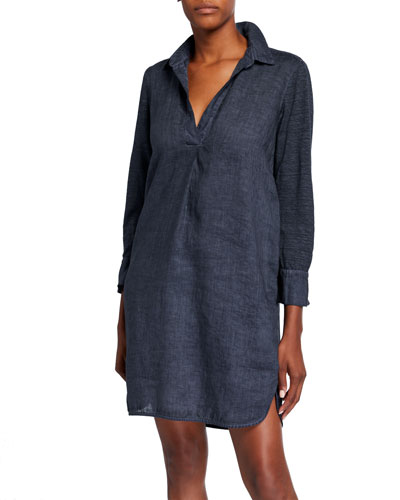 V-Neck Spread-Collar 3/4-Sleeve Woven Jersey Mix Dress