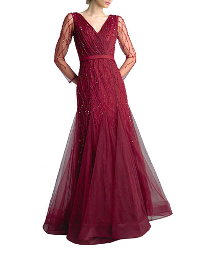 Beaded V-Neck Long-Sleeve Godet A-Line Gown