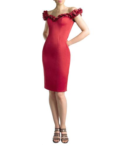 Off-the-Shoulder Rosettes Scuba Dress