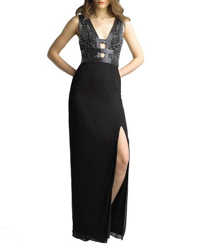 Beaded Ladder Front/Back Sleeveless Column Gown