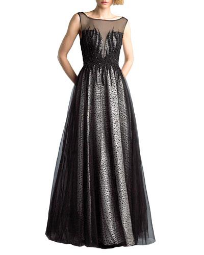 Sleeveless Boat-Neck Beaded-Bodice Tulle Overlay Illusion Gown
