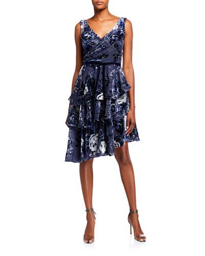 Sleeveless Velvet Burnout Chiffon Dress w/ Tiered Skirt