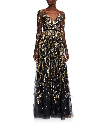 V-Neck Long-Sleeve Metallic Embroidered Gown w/ 3D Leaflets