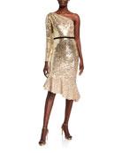 Marchesa Notte Degrade Sequin One-Shoulder Dress w/ Asymmetrical