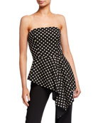 Black Halo Parma Strapless Polka Dot Stretch Jacquard