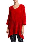 Caroline Rose Petite Crinkle Velvet 3/4-Sleeve Shirt