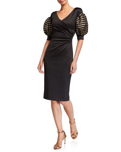 Elora Puff-Sleeve Sheath Cocktail Dress