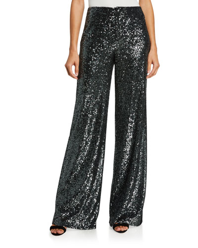 Dylan High-Rise Wide-Leg Sequined Pants