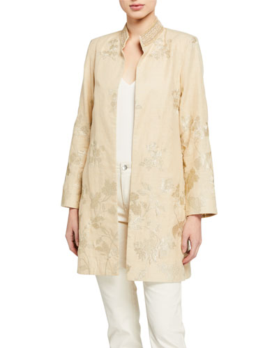 Bloom Jacquard Metallic Thread Jacket w/ Embellished Mandarin Collar