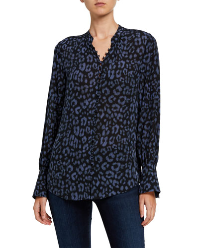 Tariana Leopard-Print Button-Down Top