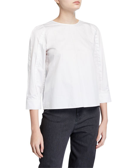 Tibi 3/4-Sleeve Satin Poplin Sculpted Tucked Top