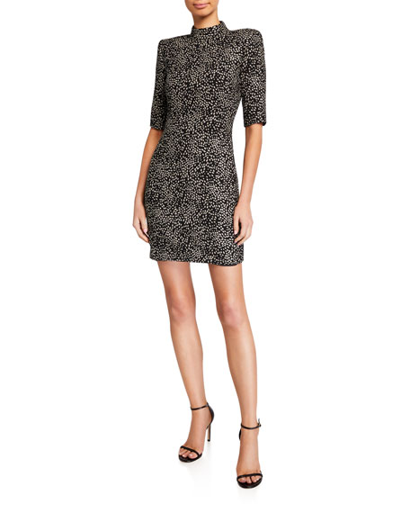 Alice + Olivia Inka Strong-Shoulder Mock-Neck Dress