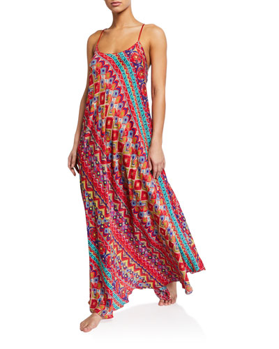 Printed Cross-Back Long Coverup Dress