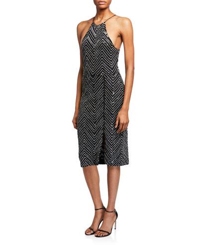 Ferne Embellished Zip Split Midi Dress