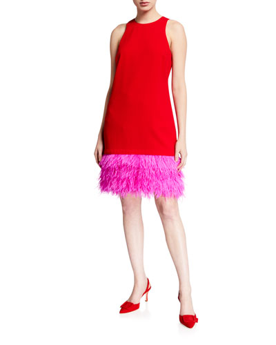 Berry Colorblock Feather-Hem Shift Dress
