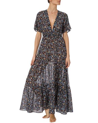 Pebble-Print Cutout Long Coverup Dress