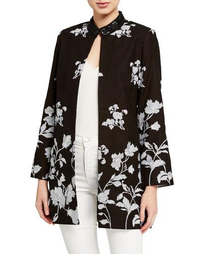 Bloom Floral Jacquard Jacket w/ Sequin Embellished Collar