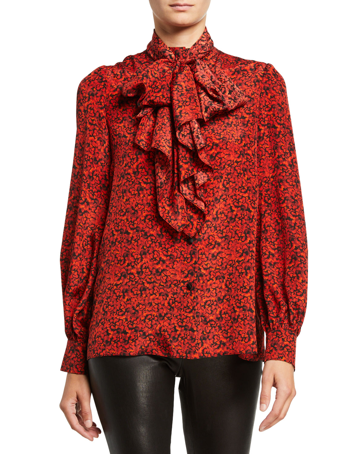 Alice And Olivia Tops TAMMY MANDARIN-COLLAR BUTTON-DOWN TOP WITH REMOVABLE TIE