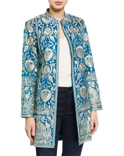 Selena Metallic Embroidered Jacket w/ Mandarin Collar