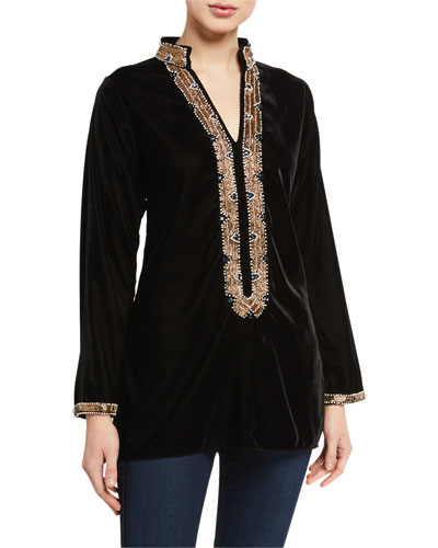 Loren Stone Embellished Velvet Tunic w/ Mandarin Collar