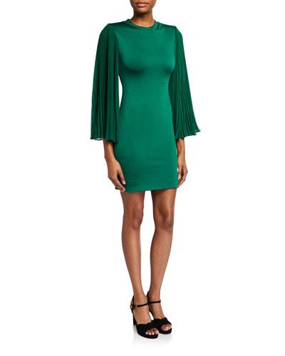 Zaya Pleated-Sleeve Cocktail Dress