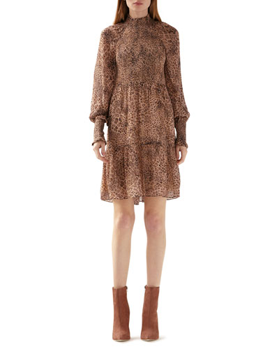 Leopard Mock-Neck Bishop-Sleeve Tiered Dress w/ Smocking Details