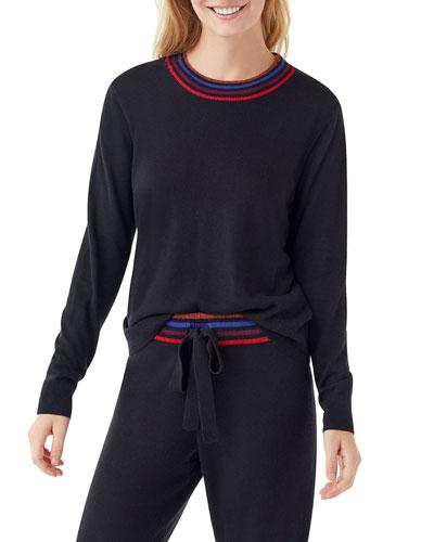 Brighton Cashmere-Blend Contrast-Neck Sweater