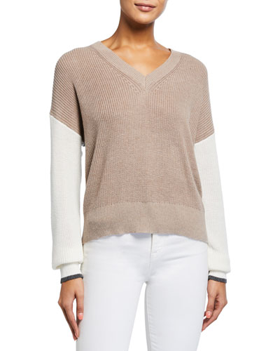 Gemma Colorblock V-Neck Sweater