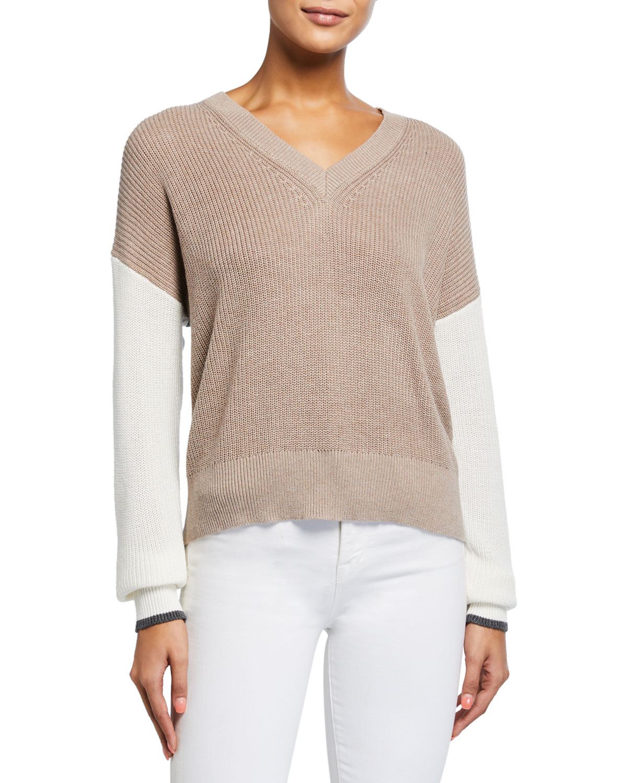 Splendid Sweaters GEMMA COLORBLOCK V-NECK SWEATER