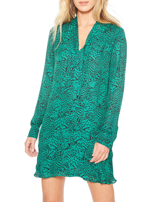 Parker Dresses MERCER ANIMAL-PRINT TIE-NECK DRESS