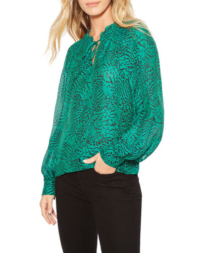 Aussie Animal-Print Long-Sleeve Blouse