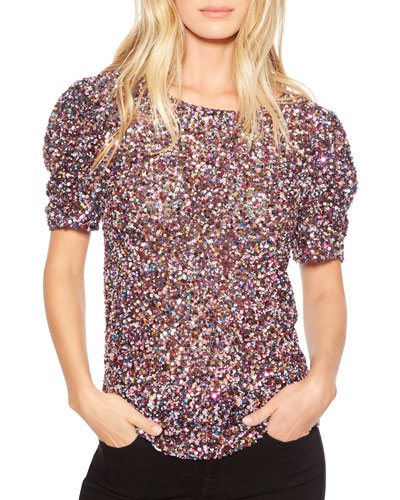 Isaac Sequined Short-Sleeve Top