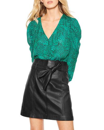 Emmet Belted Leather Skirt