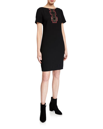 Embellished T-Shirt Crepe Dress